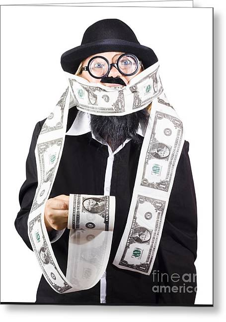 Woman Wrapped In Money Greeting Card