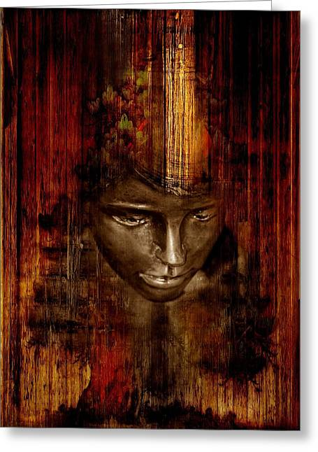 Woman's Head Greeting Card by Heike Hultsch