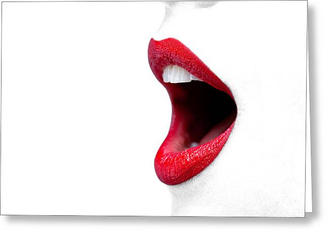 Womans Mouth Wide Open With Red Lipstick. Greeting Card by Richard Thomas