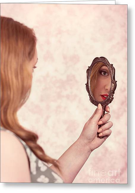 Womans Reflection Greeting Card by Amanda Elwell