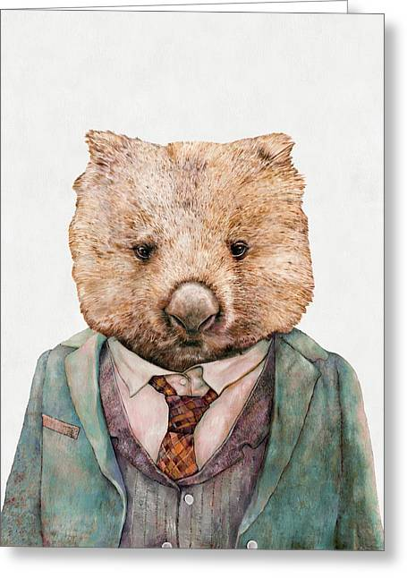 Wombat Greeting Card by Animal Crew