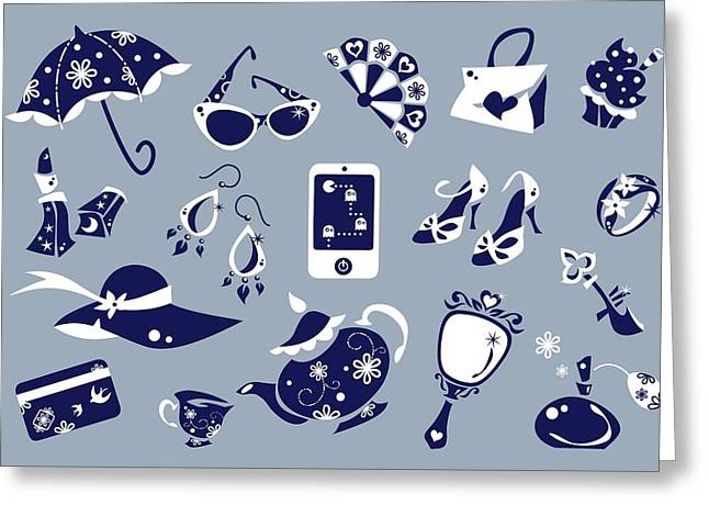 Women Accessories - Shoes Shopping Bag - Vector Icons Greeting Card