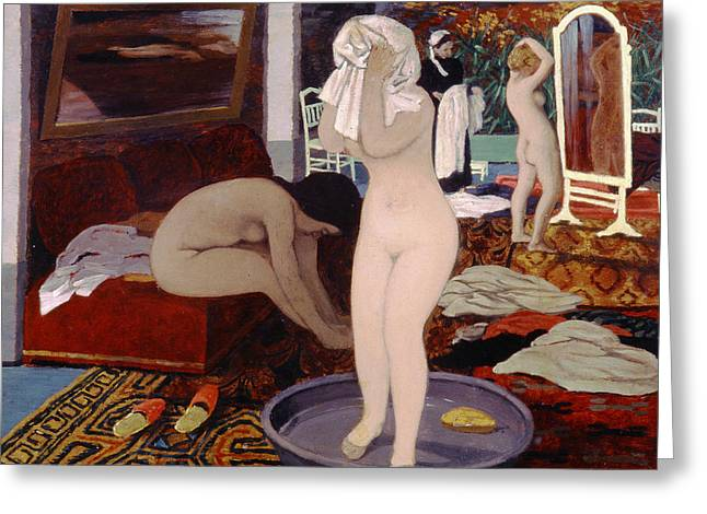 Women At Their Toilet Greeting Card by Felix Edouard Vallotton