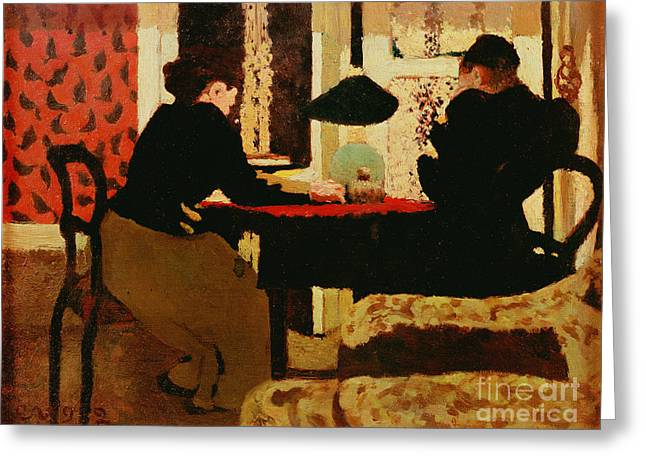 Women By Lamplight Greeting Card