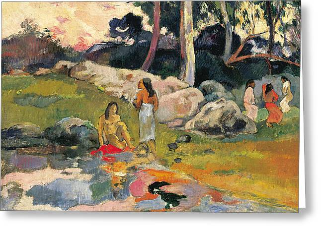 Women By The Riverside Greeting Card by Paul Gauguin
