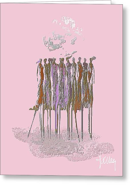 Greeting Card featuring the mixed media Women Chanting- Fierce Cancer Warriors by Larry Talley
