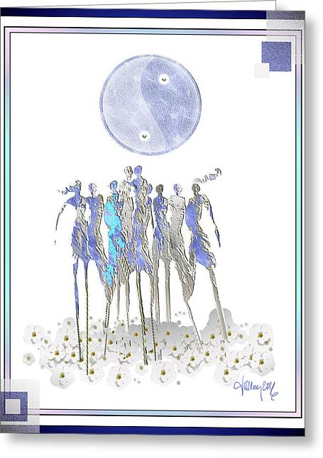 Women Chanting - Full Moon Flower Song Greeting Card