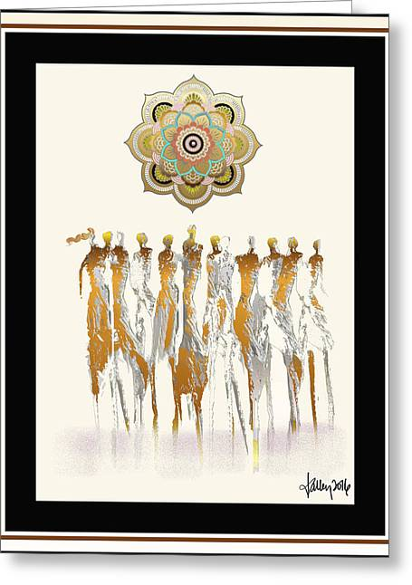 Women Chanting Mandala Greeting Card