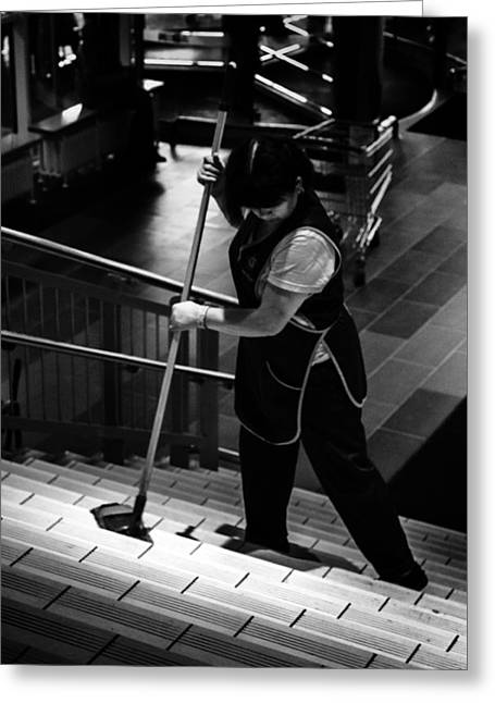 Women Cleans Steps In Mega Store Ufa Russia 2015 Greeting Card by John Williams