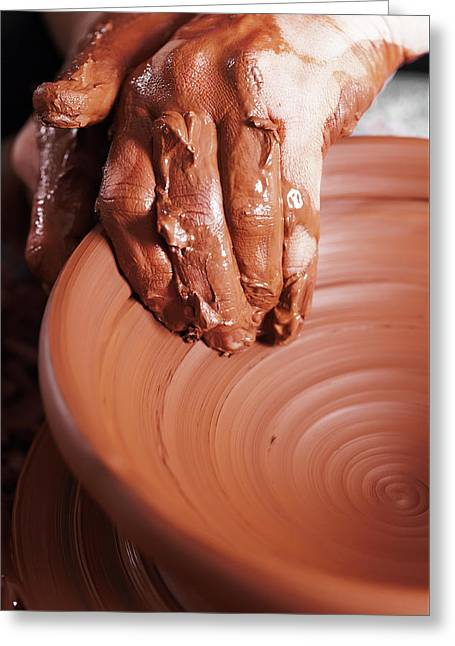 Women Hands. Potter At Work. Creating Dishes. Potter's Wheel. Dirty Hands In The Clay And The Potter Greeting Card by Alim Yakubov