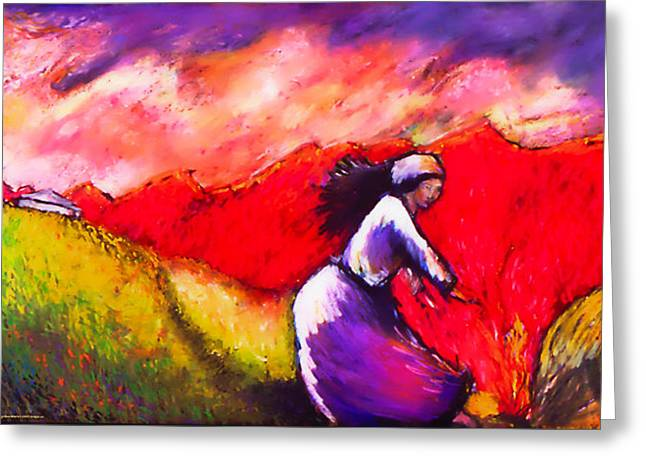 Women In A Field Greeting Card by Angelina Marino