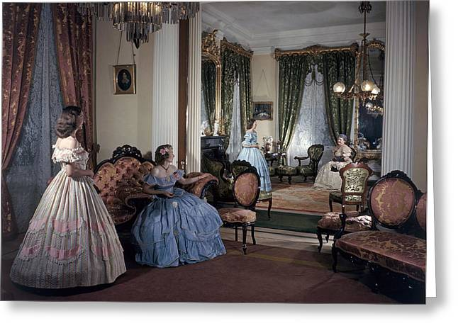 Women In Period Costumes Sit In An Greeting Card by Willard Culver