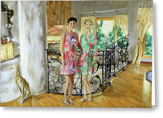 Greeting Card featuring the painting Women In Sunroom by Ryan Demaree