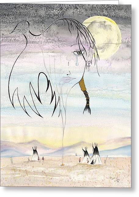 Women In The Smoke Greeting Card by Darren Cannell
