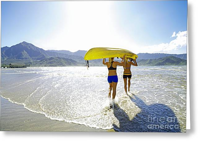 Women Kayakers Greeting Card by Kicka Witte - Printscapes