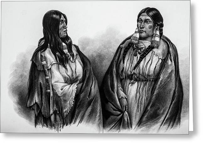 Women Of The Snake And Cree Tribes Greeting Card by Douglas Barnett