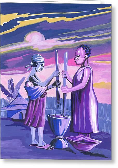 Greeting Card featuring the painting Women Pounding Cassava by Emmanuel Baliyanga