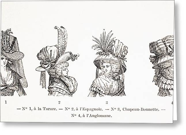 Women S Hat Styles Of The 18th Century Greeting Card by Vintage Design Pics