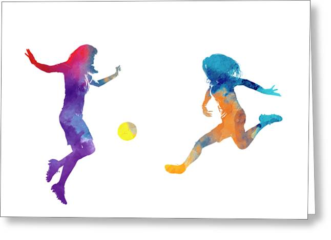 Women Soccer Players 01 In Watercolor Greeting Card by Pablo Romero