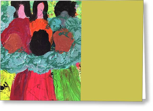 Greeting Card featuring the painting Women Together With Teal by Annette McElhiney