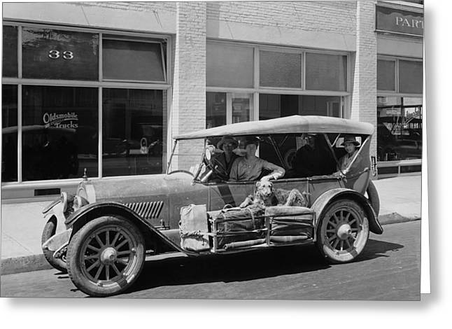Women Traveling In A 1919 Car Greeting Card by Underwood Archives