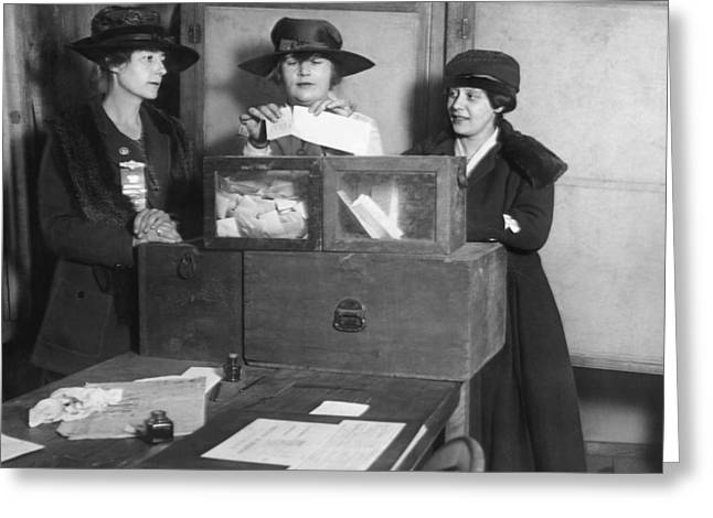 Women Voting In New York City Greeting Card by Underwood Archives