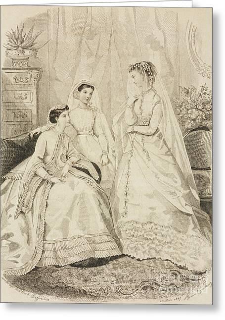 Women Wearing Elegant Dresses Greeting Card