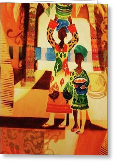 Women With Baskets Greeting Card by Marilyn Jacobson