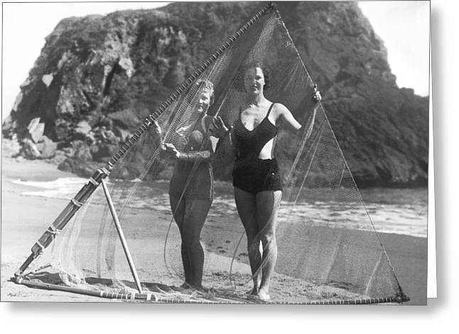 Women With Surf Fishing Net Greeting Card by Underwood Archives