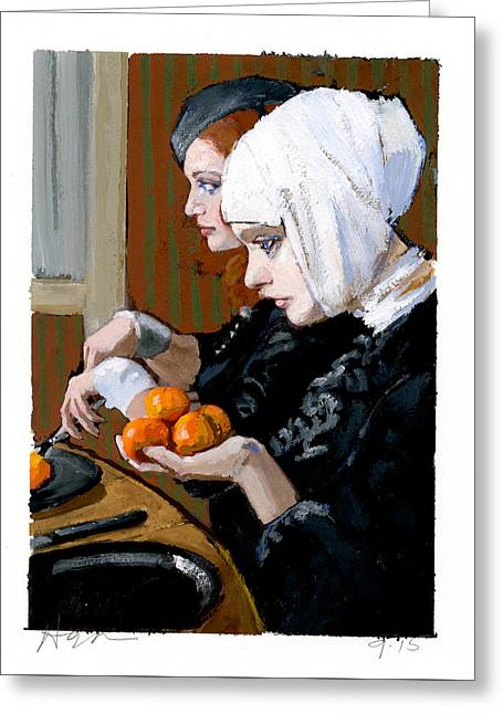 Women With Tangerines Greeting Card by H James Hoff