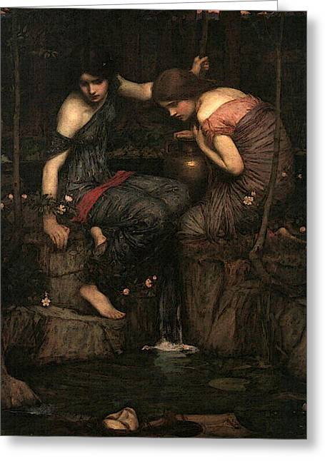 Women With Water Jugs Greeting Card by John William Waterhouse