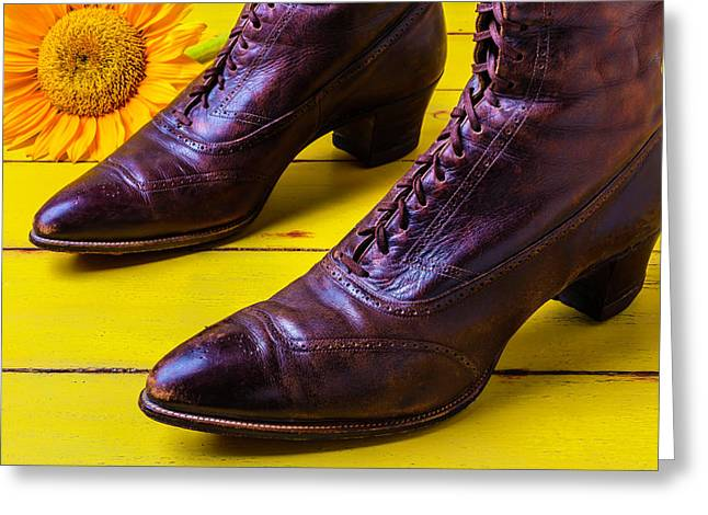 Womens Antique Boots Greeting Card