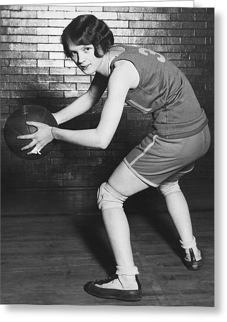 Women's Basketball Champions Greeting Card by Underwood Archives