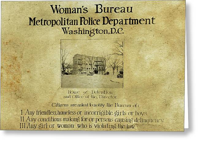 Women's Bureau House Of Detention Poster 1921 Greeting Card
