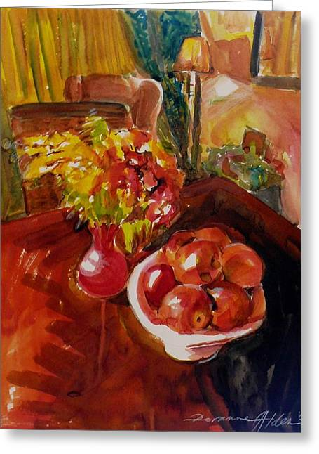 Interior Still Life Paintings Greeting Cards - Womens day bouquet Greeting Card by Doranne Alden