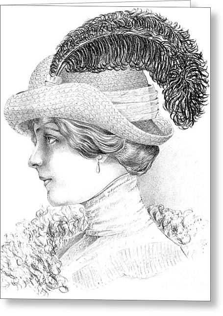 Women's Fashion Plate Depicting Hat By Robert Funke, Sketch, 1910 Greeting Card