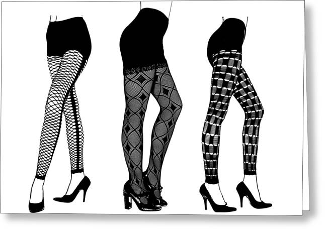 Womens Legs Fishnet Lace Stockings High Heels Art Greeting Card by Elizavella Bowers