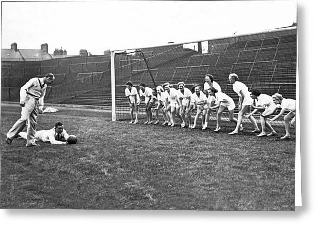Women's Soccer Team Lineup Greeting Card by Underwood Archives