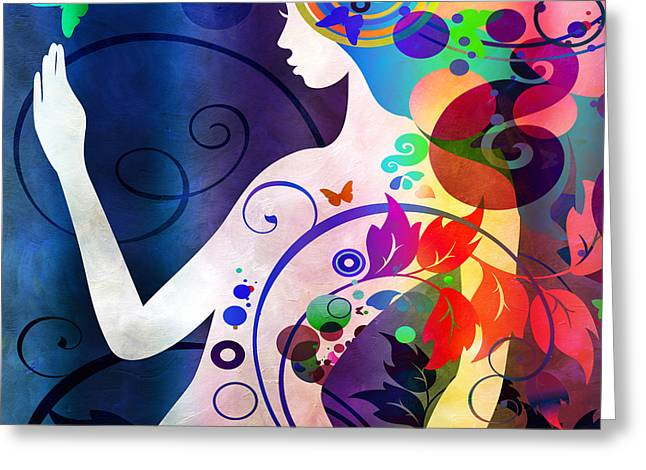 Abstract Silhouette Mixed Media Greeting Cards - Wonder Greeting Card by Angelina Vick