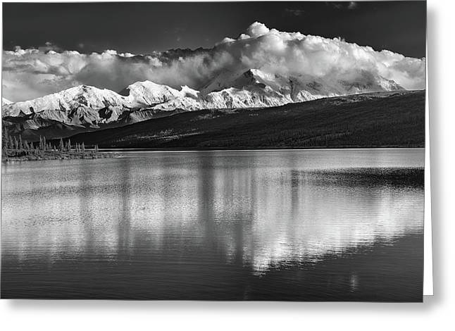 Wonder Lake In Black And White Greeting Card by Rick Berk