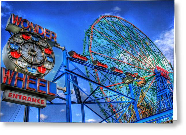 Wonder Wheel Greeting Card by Bryan Hochman