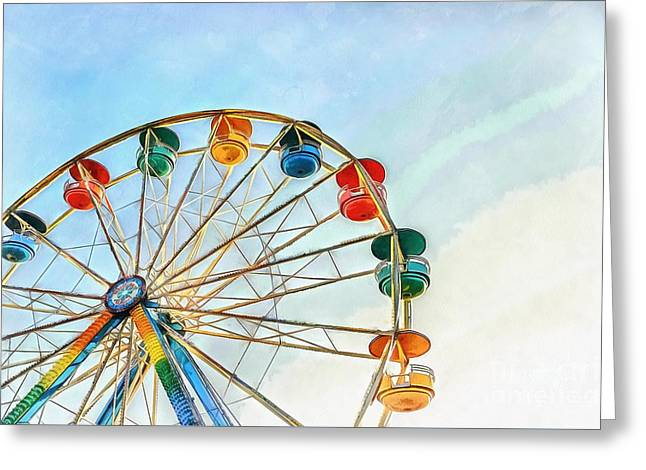 Greeting Card featuring the painting Wonder Wheel by Edward Fielding