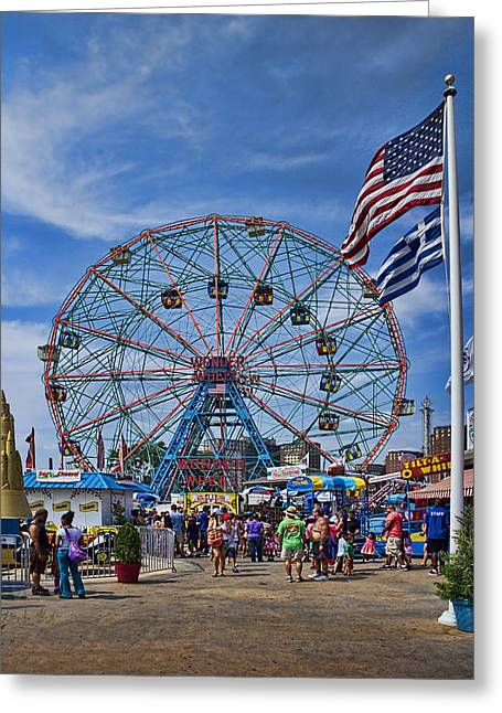 Coaster Greeting Cards - Wonder Wheel in Coney Island New York Greeting Card by David Smith