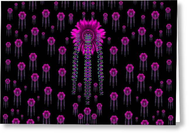 Wonderful Jungle Flowers In The Dark Greeting Card