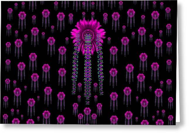 Wonderful Jungle Flowers In The Dark Greeting Card by Pepita Selles