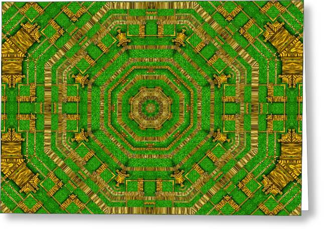Wonderful Mandala Of Green And Golden Love Greeting Card