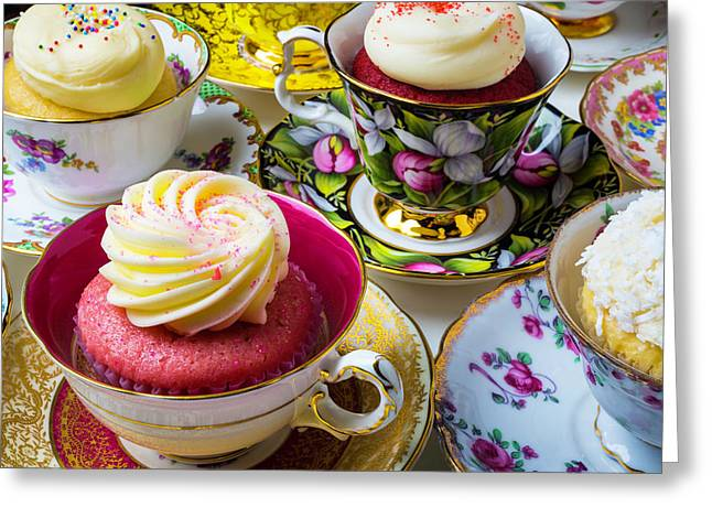 Wonderful Tea Cups With Cupcakes Greeting Card