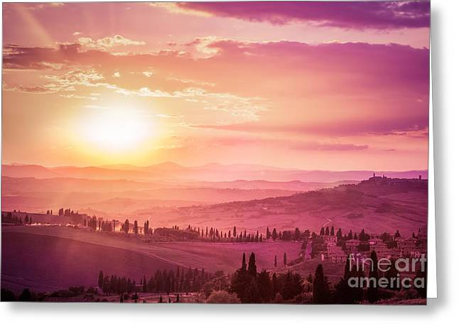 Wonderful Tuscany Landscape With Cypress Trees, Farms And Medieval Towns, Italy. Pink And Purple Sunset Greeting Card