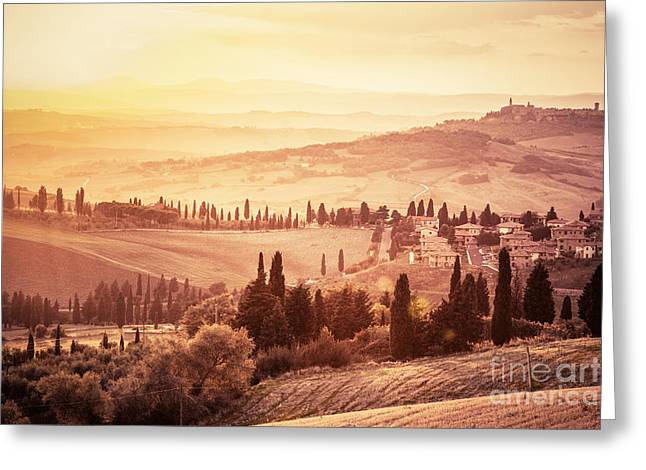 Wonderful Tuscany Landscape With Cypress Trees, Farms And Small Medieval Towns Greeting Card