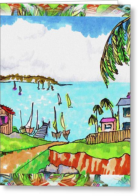 Wonderful Village Greeting Card by Margaret Wingstedt